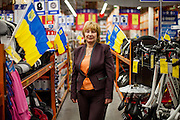"Irina Zinko, responsible for the building supplies stores ""Epicenter"" photographed in a store located in the city center of Lviv, Ukraine."