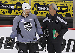 May 29; Newark, NJ, USA; Los Angeles Kings right wing Dustin Brown (23) and Los Angeles Kings head coach Darryl Sutter during Stanley Cup Finals media practice day at the Prudential Center.