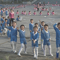 Children training for 'Mass Games' synchronized performance, Hamhung, North Korea