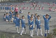 Children training for 'Mass Games' synchronized performance, Hamhung, North Korea