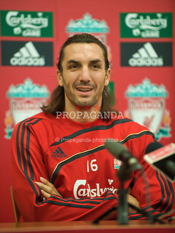 LIVERPOOL, ENGLAND - Saturday, August 22, 2009: Liverpool's new signing Sotirios Kyrgiakos during a press conference at the club's Melwood Training Ground. The 30-year-old defender was signed on a two-year deal from Greek club AEK Athens. (Photo by David Rawcliffe/Propaganda)