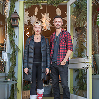 "Anna Morgan and Josh Beaman on Christmas Eve in front of Blackbird in downtown Calistoga  ""We remodel houses...we're currently working on our house...its our turn."""