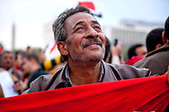 A protester cheers during a rally in Tahrir Square in Cairo, February 6, 2011. Ann Hermes/© The Christian Science Monitor 2011