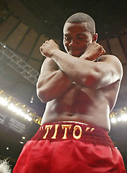 "October 2, 2004; New York, NY; USA; Felix ""Tito"" Trinidad celebrates after his knockout of Ricardo Mayorga at Madison Square Garden in New York City."