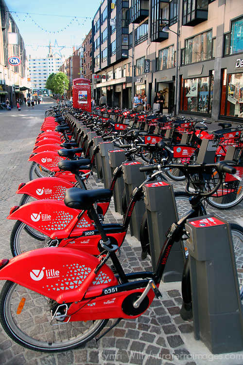 Europe, France, Lille. Public Bicycles of Lille.