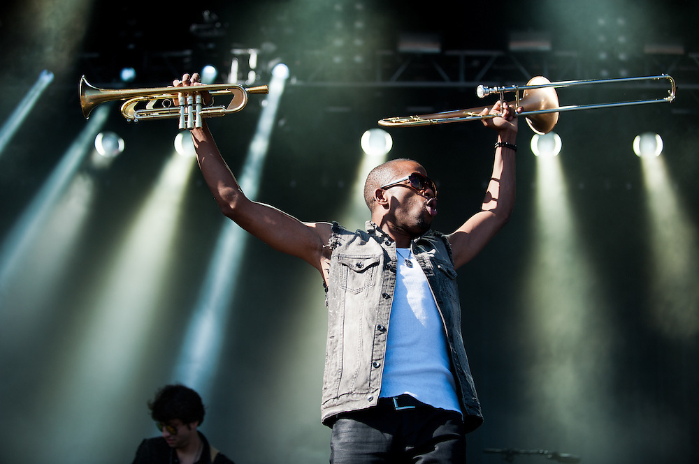 Trombone Shorty & Orleans Avenue on stage at Lou Fest.
