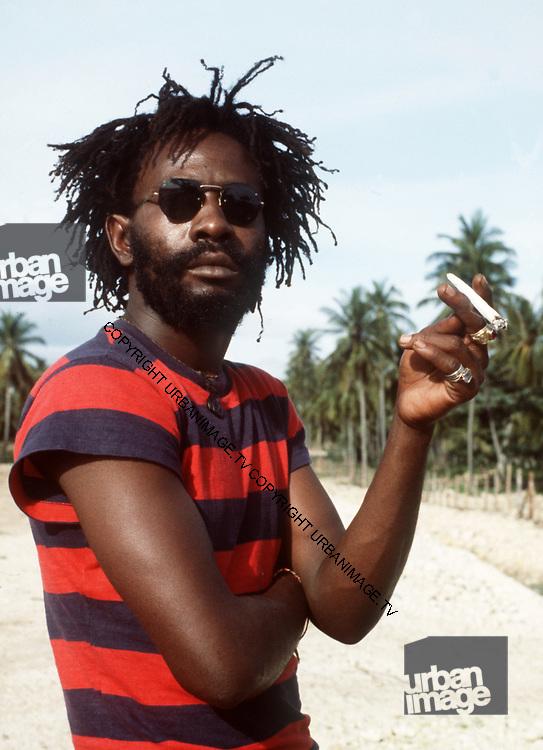 Burning Spear with splif on the Beach at St Ann's Bay Jamaica 1978