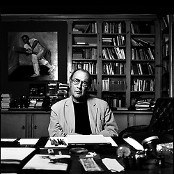 UK. London. Playwright Harold Pinter who died on Christmas Day 2008 aged 78..Photograph shows Harold Pinter in his writing studio in West London the year before his death..Photo ©Steve Forrest/Workers Photos