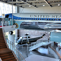 Air Force One Pavilion in Ronald Reagan Presidential Library in Simi Valley, California<br /> This Boeing 707 is called Special Air Mission 27000, or SAM 27000 for short.  For 29 years, when one of six US presidents was inside, its air traffic control call sign was Air Force One.  Nixon was the first to ride in it and, when he resigned, it flew him back to California. When George W. Bush&rsquo;s presidency ended, it brought him to Texas on August 29, 2001.  Then, its last flight was to California where it was dismantled and reassembled at the Air Force One Pavilion in the Ronald Reagan Presidential Library in Simi Valley, California. The helicopter is a Sikorsky VH-3 Sea King, called Marine One, when it was used predominately by Lyndon Johnson.