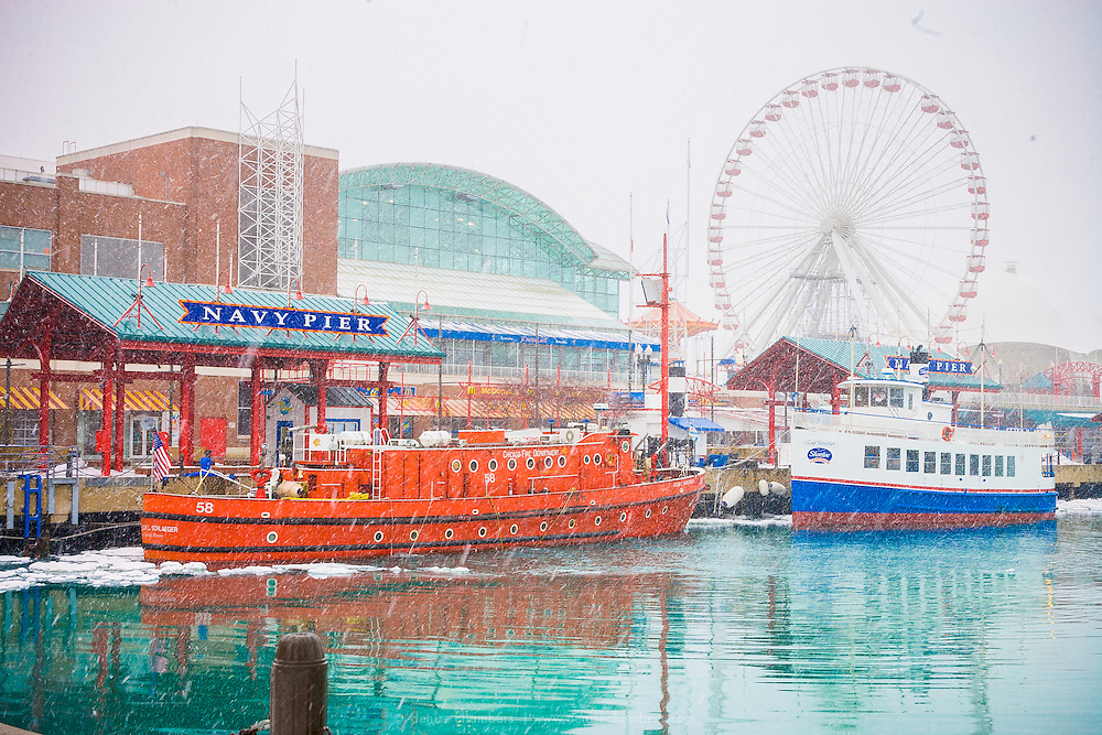 A snowy day at Navy Pier in Chicago, Illinois