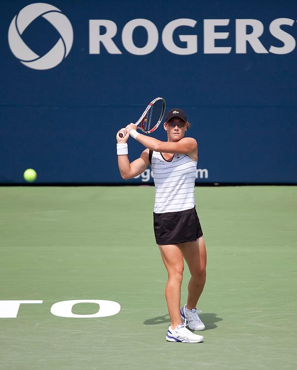 Samantha Strosur of Australia returns a ball during her semi-final match against  Agnieszka Radwanska at the Rogers Cup WTA event in Toronto, Ontario, August 14, 2011. Strosur defeated Radwanska in 3 sets.<br /> AFP PHOTO/Geoff Robins
