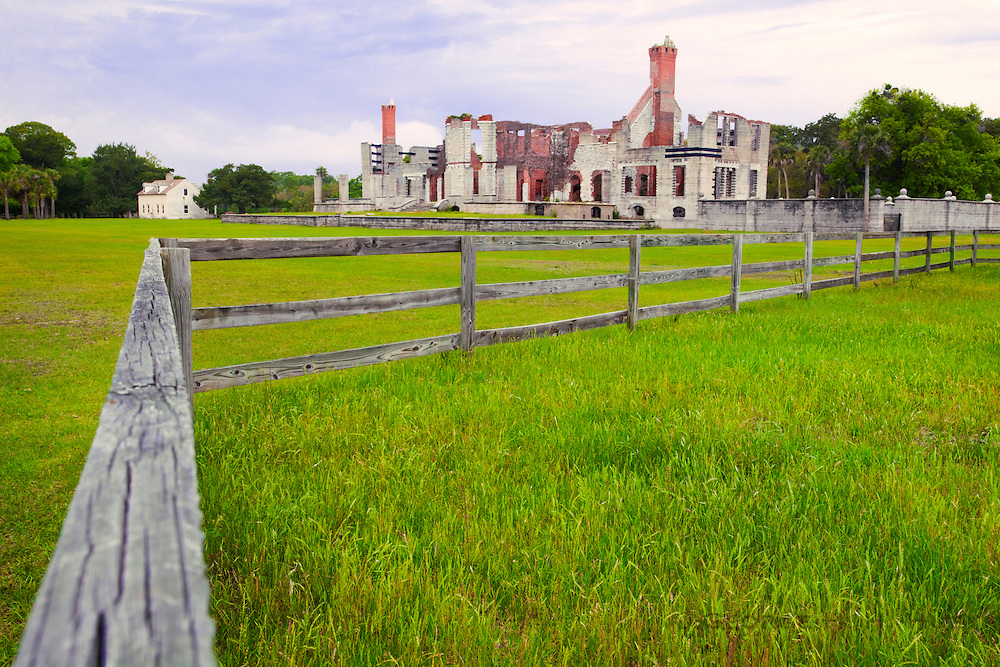 1300-1010  Ruins of the Dungeness mansion built in 1885 by Thomas and Lucy Carnegie.  Cumberland Island National Seashore, Georgia.