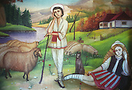 A traditional Romanian shephard, with girl and flock of sheep, painted on the wall of a Roma home, in the old part of the Sintesti Roma camp. Transylvanian rural scenes are very popular as wall decoration. .
