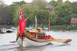 © Licensed to London News Pictures. 23/04/2017. Richmond, UK. Gloriana pictured approaching Richmond upon Thames. The annual Tudor Pull has taken place on the River Thames with Royal Watermen rowing up the river from Hampton Court Palace to the Tower of London in the Queen's Row Barge Gloriana with a flotilla of traditional cutters behind. The 25 mile row takes place this year two days after the Queen's Birthday and on the same day at the London Marathon. Photo credit : Rob Powell/LNP