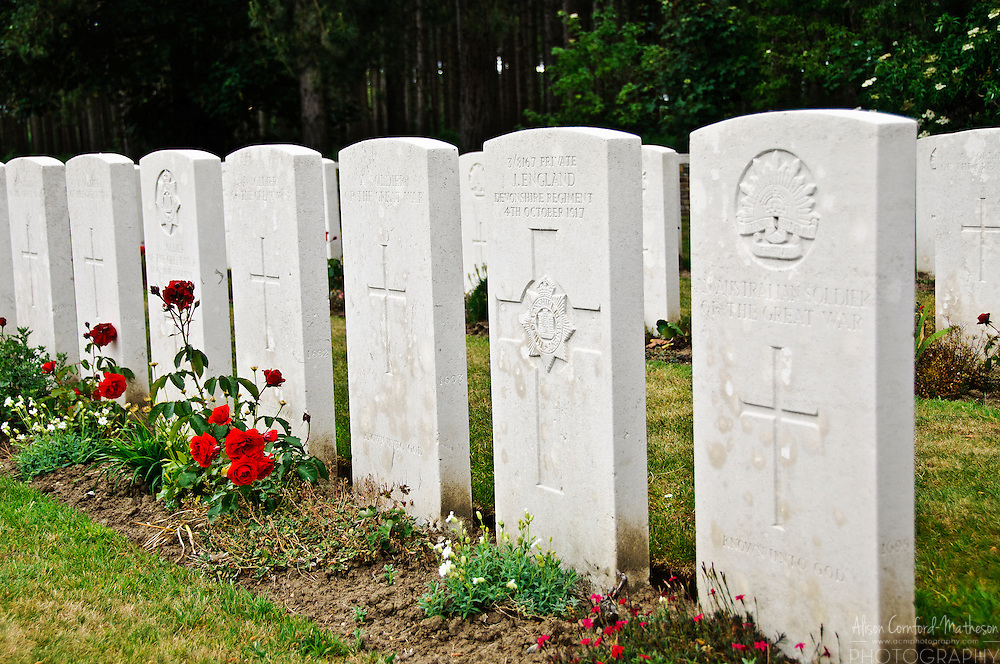 A  British Commonwealth cemetery in Flanders Fields for soldiers who died during WWI