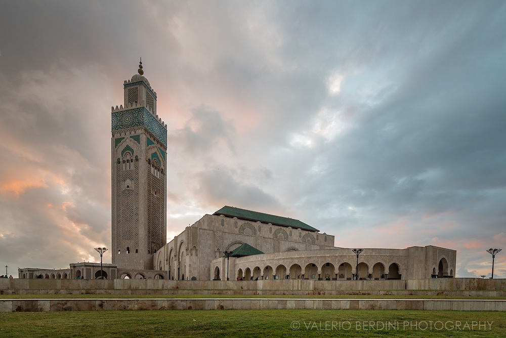 Hassan II Mosque in Casablanca at sunset