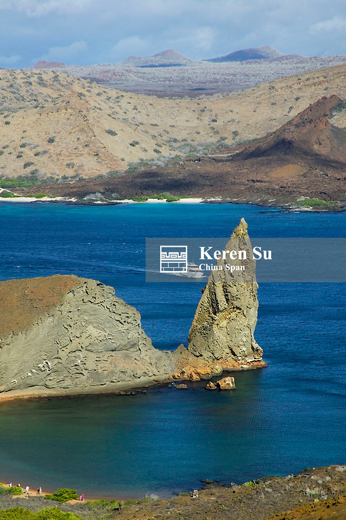 Landscape of island and yachts on ocean, Santiago, Galapagos Islands, Ecuador