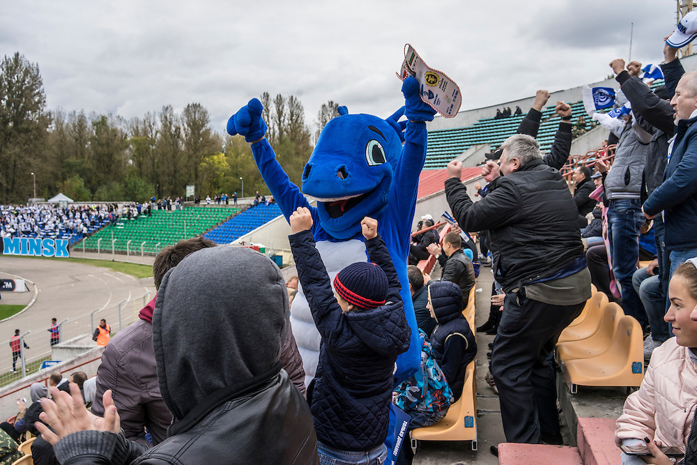 Dinamosha, the mascot of FC Dinamo Minsk, cheers a goal at the team's Traktor Stadium on Sunday, September 25, 2016 in Minsk, Belarus.