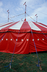"Bentley Bros. circus, one of the few remaining ""mud show"" circus performing under a canvas big top."