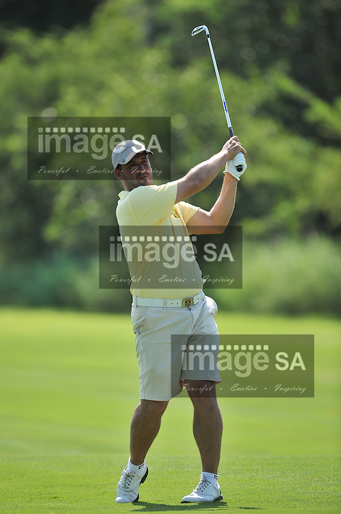 MALELANE, SOUTH AFRICA - Wednesday 18 February 2015, Gerlou Roux of South Africa plays his approach shot to the 10th green during the first round of singles at the annual Leopard Trophy, a two day test between teams of the South African Golf Association and the Scottish Golf Union, at the Leopard Creek Golf Estate.<br /> Photo Roger Sedres/ Image SA
