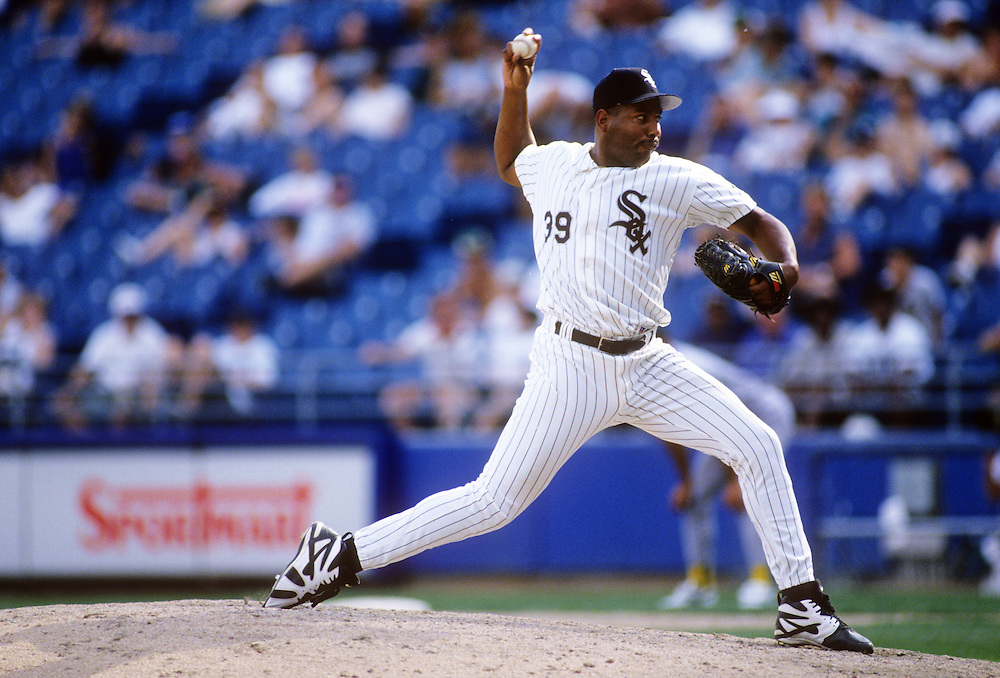 CHICAGO - UNDATED: Roberto Hernandez pitches for the Chicago White Sox in an MLB game at Comiskey Park in Chicago, Illinois.  (Photo by Ron Vesely)