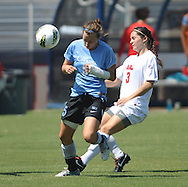 Ole Miss's Erin Emerson (3) vs. The Citadel's Hannah Warne (5) in women's soccer action at the Ole Miss Soccer Field in Oxford, Miss. on Monday, September 12, 2011. Ole Miss won 6-1.