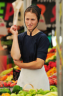 Mennonite woman, Farmers Market, St. Jacobs, Ontario, Canada,