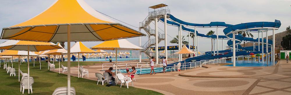 Les parcs aquatiques, nombreux autour du Lac de Tibériade, créent la controverse avec leur utilisation intense d'eau. Israël, mai 2011