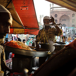 Biryani rice stall near the Jama Masjid in Old Delhi on friday afternoon.