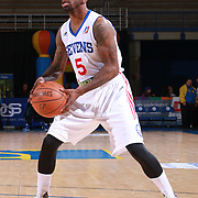 Delaware 87ers Guard RUSS SMITH (5) looks to pass the ball in the first half of a NBA D-league regular season basketball game between the Delaware 87ers and the Maine Red Claws Friday, Feb. 19, 2016 at The Bob Carpenter Sports Convocation Center in Newark, DEL.