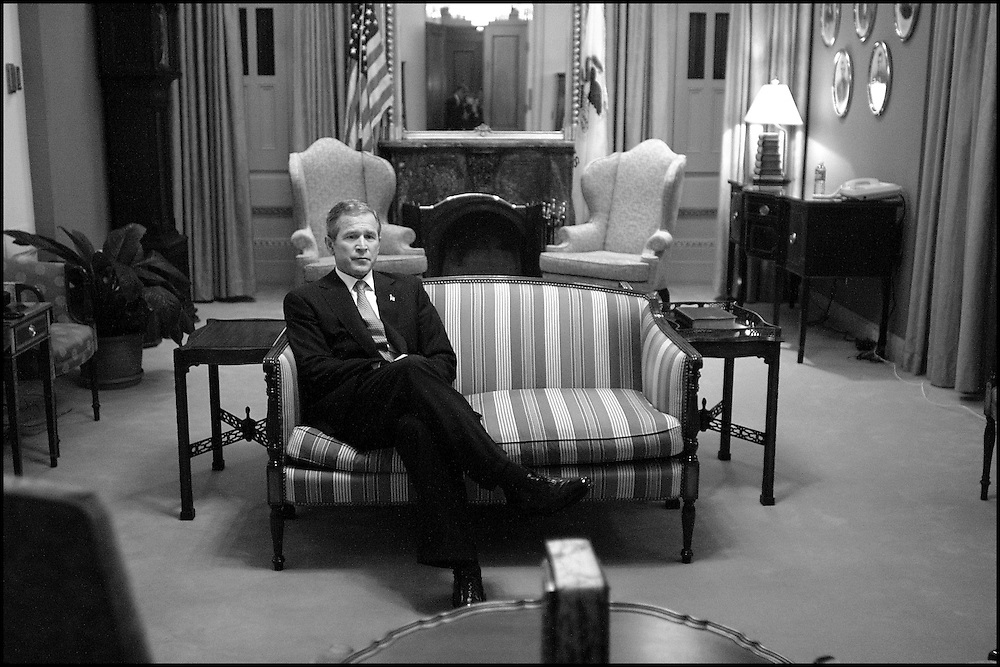 Moments before delivering a speech to a Joint Session of Congress, President Bush is deep in thought alone in the Speaker's Ceremonial Room. 9/20/01..©PF BENTLEY/PFPIX.com