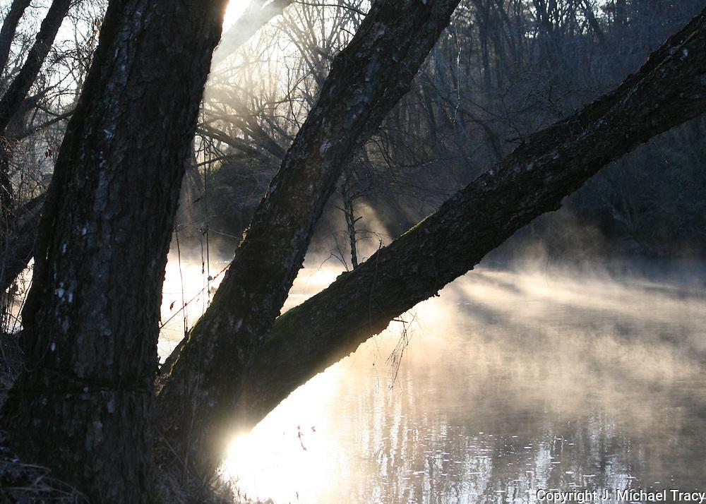 Sunrise on the Toccoa River, Blue Ridge Georgia, mid winter with mist rising.