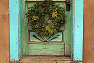 Santa Fe, New Mexico, Canyon Road, door, Christmas wreath
