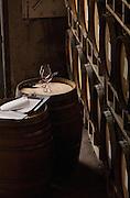 A quiet corner in Chehalem's barrel room, Willamette Valley, Oregon