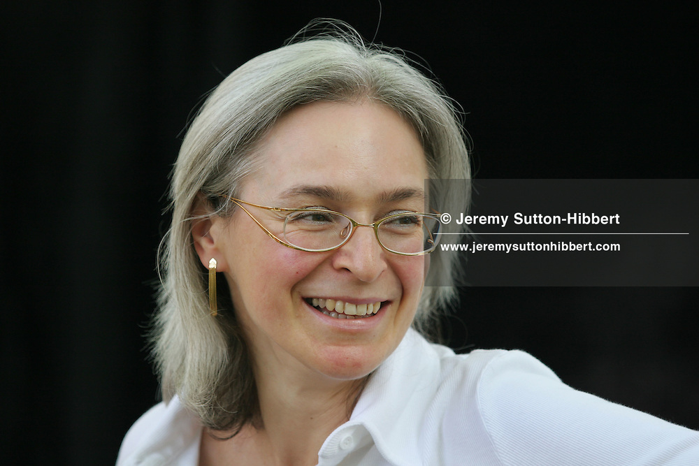 Anna Politkovskaya, controversial, outspoken Russian journalist and critic of the Russian government regime of Vladimir Putin and his policies in Chechnya,  at the Edinburgh International Book Festival on Sunday 14th August 2005, in Edinburgh, Scotland.  Anna Politkovskaya, 48 years old, was shot  twice and murdered October 7th 2006 in her Moscow apartment. Her killing is thought to have been a contract killing, the 3rd in Russia in past three weeks. She was the mother of two children. Politkovskaya rose to journalistic fame with her outspoken criticisms of the war in Chechnya, and was one of few journalists, to enter the Moscow Theatre, as a negotiator,  in 2002 when Chechen terrorists held the occupants hostage.
