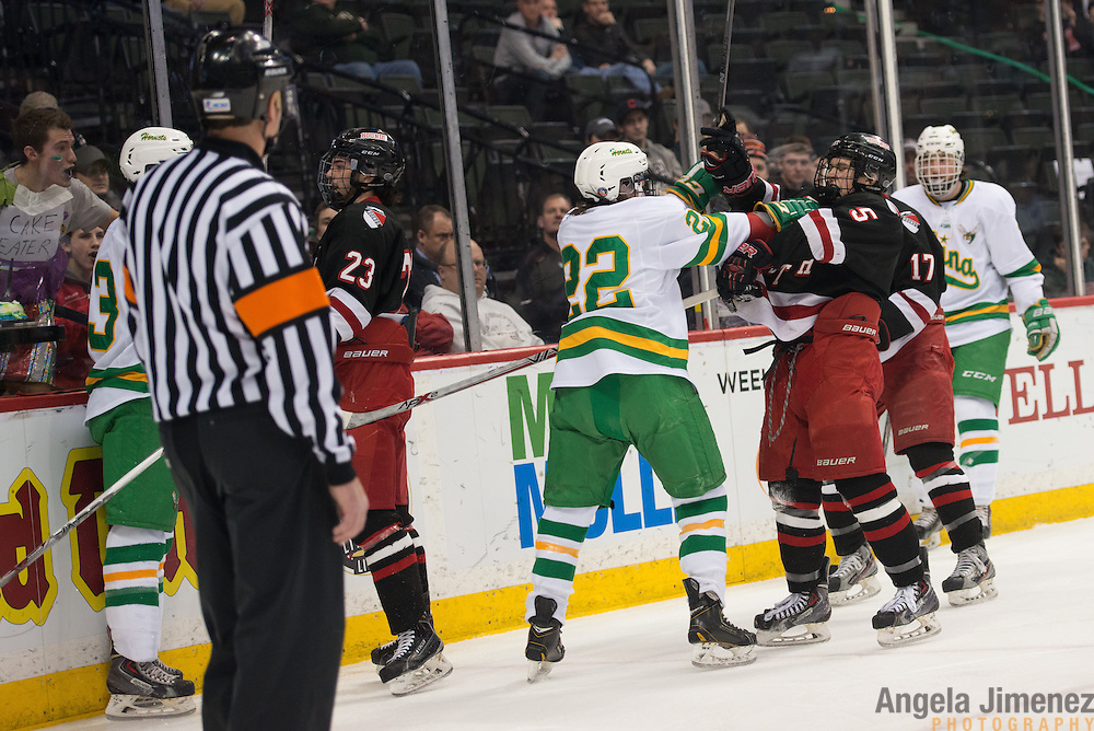 Edina's Sam Fuss, left, and Duluth East's Garret Worth tousle during the Class AA semifinal game between Duluth East and Edina (Duluth East won 3-1) at the Minnesota State High School League Boys' State Hockey Tournament at the Xcel Energy Center in St. Paul, Minnesota on March 6, 2015. <br />  <br /> <br /> Photo by Angela Jimenez for Minnesota Public Radio www.angelajimenezphotography.com
