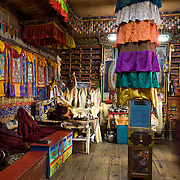 Tsamkhang Monastery (Tibetan Buddhist religion), in Khunde village (12,600 feet / 3840 meters), in Sagarmatha National Park, in the Himalaya of eastern Nepal. Sagarmatha National Park was created in 1976 and honored as a UNESCO World Heritage Site in 1979.