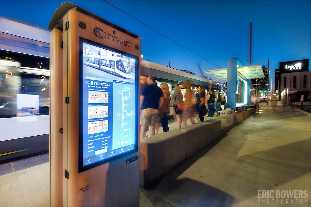 Smart City Post Kiosks installed at downtown Kansas City Streetcar stops