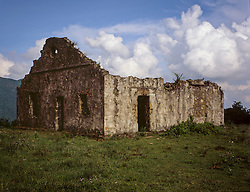 Old crumbling colonial house built in the ancient French station in Mau Son, Lang Son Province, Vietnam, Southeast Asia