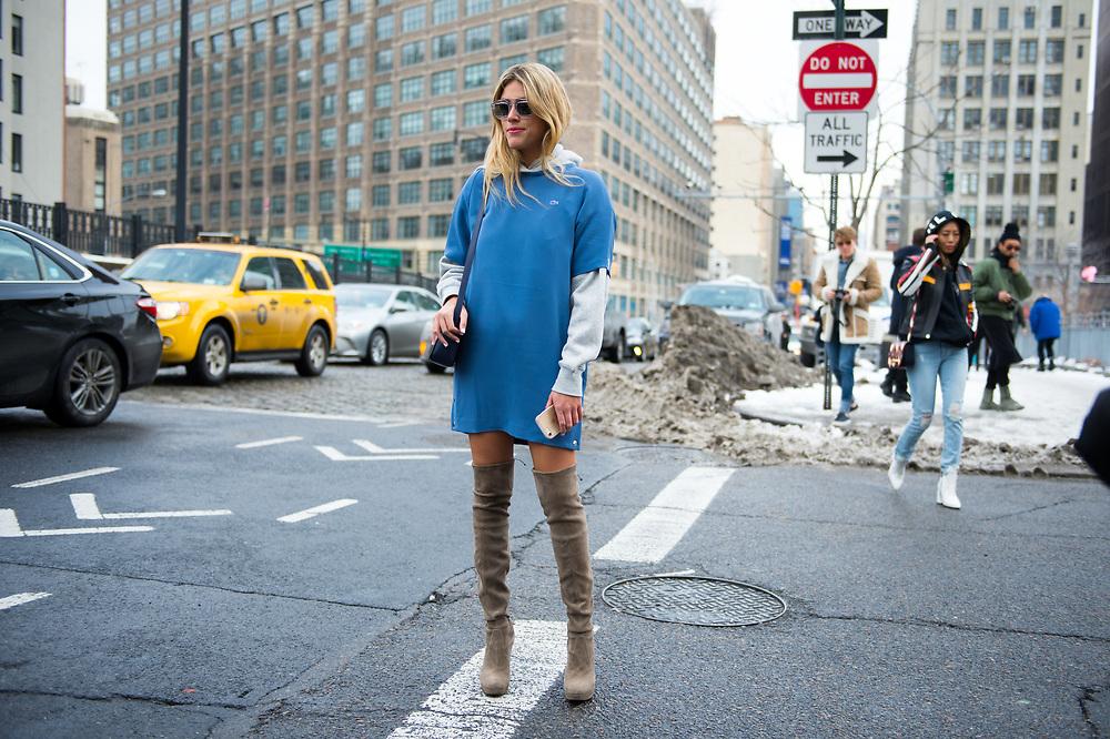 Fer Medina in a Blue Lacoste Dress Over Sweatshirt, Outside the Show FW2017