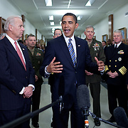Pres. Bush speaks to reporters following his meeting at the Pentagon Wednesday, January 28, 2009.  Also in attendance is VP Biden, Sec. of Defense Robert Gates and the Joint Chiefs of Staff...Photo by Khue Bui