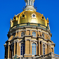 Iowa State Capitol Dome in Des Moines, Iowa<br /> When the sky is blue, the gilded dome of Iowa&rsquo;s State Capitol shines like a second sun over Des Moines. From the building&rsquo;s second floor, you need to climb 298 steps to reach the golden copula and white belvedere. After resuming normal breathing, walk around the steel fenced walkway for a 360&deg; view of downtown, the river and surrounding neighborhoods.