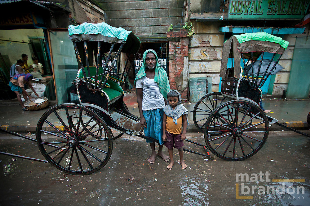 The Rickshaw pullers are mostly immigrant workers from other states. It is uncommon, but some manage to bring their families with them to Kolkata.