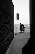 Couple Walking Sea Front, East Coast England - 1998