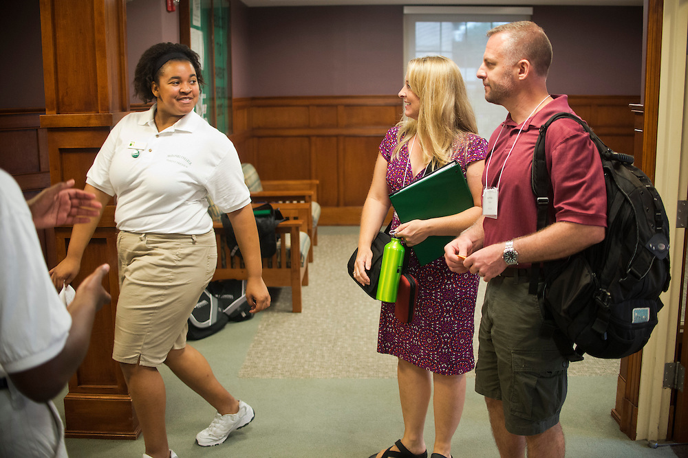 (photo by Matt Roth).Friday, July 20, 2012..Preview staff member Markia Davis (class of '13) (out of frame) shows Carolyn and Ken Phillips to their room in the Blanche Ward residence hall during McDaniel College's Parent Preview Friday, July 20, 2012. The couple ended up staying in the nearby Best Western where their son is also staying.
