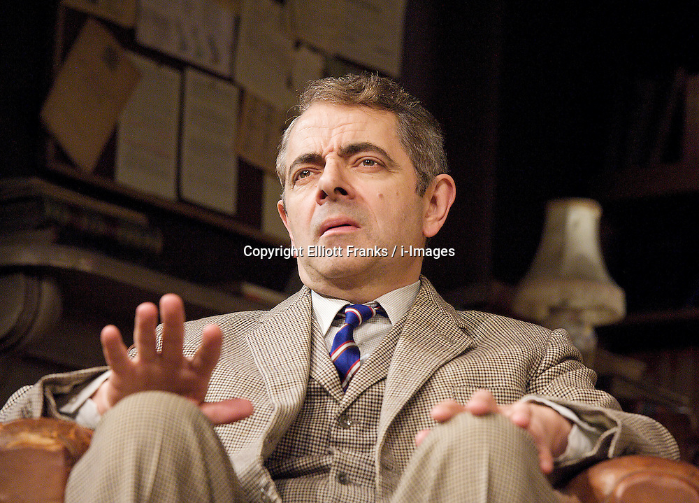 Quartermaine's Terms by Simon Gray, the Wyndham's Theatre, London, great Britain, January 25, 2013. Directed by Richard Eyre..Rowan Atkinson as St John Quartermaine. Photo by Elliott Franks / i-Images.