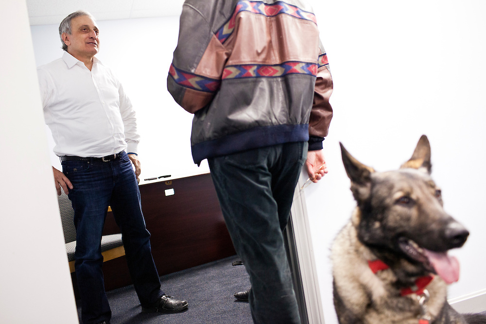 Former New York Republican gubernatorial candidate Carl Paladino, left, talks to a campaign volunteer during an interview at the New Hampshire campaign headquarters for Republican presidential candidate Newt Gingrich on Sunday, January 8, 2012 in Manchester, NH. Brendan Hoffman for the New York Times
