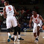 Westchester Knicks Guard KEVIN CAPERS (4) drives past a Delaware defender in the first half of a NBA D-league regular season finale between the Delaware 87ers and the Westchester Knicks Friday, Apr. 01, 2016, at The Bob Carpenter Sports Convocation Center in Newark, DEL.<br /> <br /> The Westchester Knicks will open up post season play verses the sioux skyforce Tuesday, Apr 5, 2016, at The Westchester County Center in White Plains, NY.