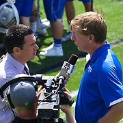 Dukes Head Coach John Danowski seen interviewing with ESPNU after Duke defeated Johns Hopkins 19-11 in The NCAA Division I Men's Lacrosse quarter finials Sunday, May. 18, 2014 at Delaware Stadium in Newark, DEL