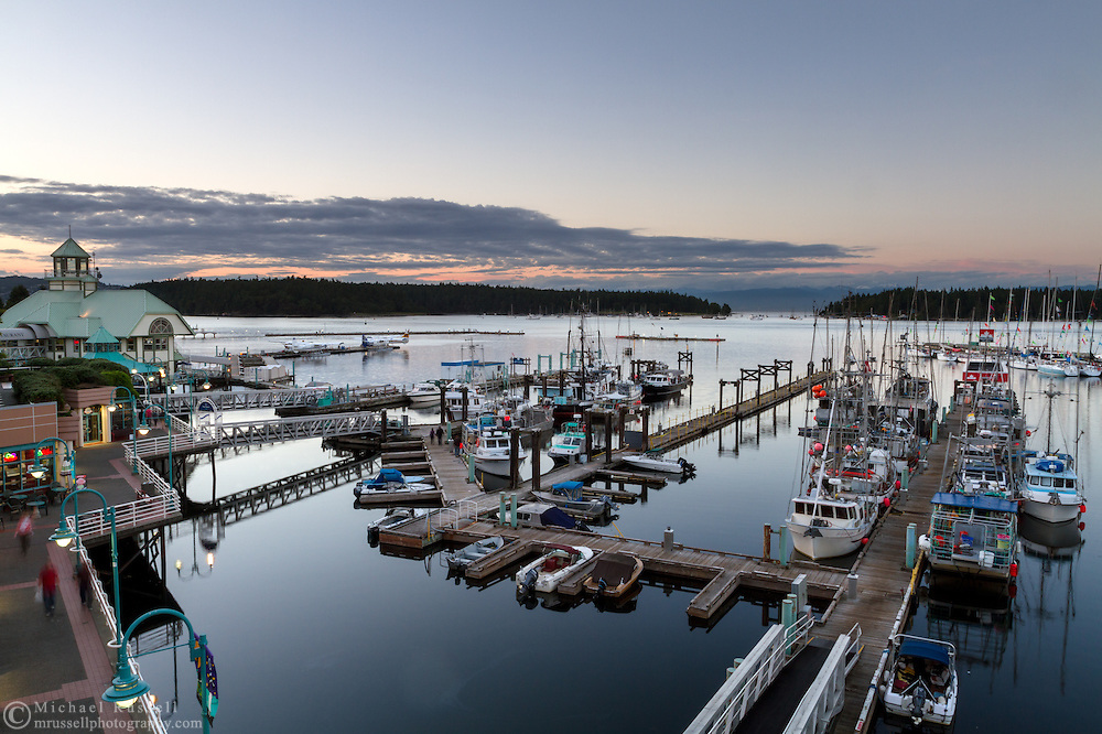 The boardwalk, boat docks and Nanaimo Water Harbour Airport in Nanaimo, British Columbia, Canada